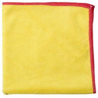 Unger MF40Y SmartColor MicroWipe 16 inch x 15 inch Yellow and Red Heavy-Duty Microfiber Cleaning Cloth - 10/Pack