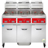 Vulcan 3TR45CF-2 PowerFry3 Liquid Propane 135-150 lb. 3 Unit Floor Fryer System with Computer Controls and KleenScreen Filtration - 210,000 BTU