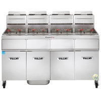 Vulcan 4TR85AF-1 PowerFry3 Natural Gas 340-360 lb. 4 Unit Floor Fryer System with Solid State Analog Controls and KleenScreen Filtration - 360,000 BTU