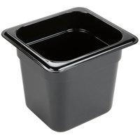 Carlisle 3088503 StorPlus 1/6 Size Black High Heat Plastic Food Pan - 6 inch Deep