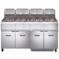 Vulcan 4GR45MF-2 Liquid Propane 180-200 lb. 4 Unit Floor Fryer System with Millivolt Controls and KleenScreen Filtration - 480,000 BTU