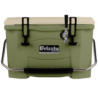 Grizzly Cooler 9090 1 Faucet Olive Green 20 Qt. Jockey BrewBox with 75' Coil