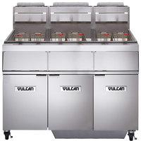 Vulcan 3GR65MF-1 Natural Gas 195-210 lb. 3 Unit Floor Fryer System with Millivolt Controls and KleenScreen Filtration - 450,000 BTU
