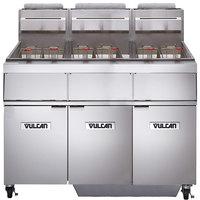 Vulcan 3GR65MF-2 Liquid Propane 195-210 lb. 3 Unit Floor Fryer System with Millivolt Controls and KleenScreen Filtration - 450,000 BTU