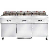 Vulcan 3ER50AF-2 150 lb. 3 Unit Electric Floor Fryer System with Analog Controls and KleenScreen Filtration - 480V, 3 Phase, 51 kW