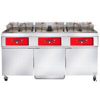 Vulcan 3ER85DF-1 255 lb. 3 Unit Electric Floor Fryer System with Digital Controls and KleenScreen Filtration - 208V, 3 Phase, 72 kW