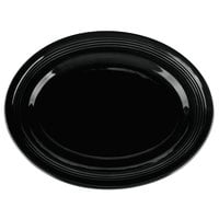 Tuxton CBH-136 Concentrix 13 3/4 inch x 10 1/2 inch Black Oval China Platter - 6/Case