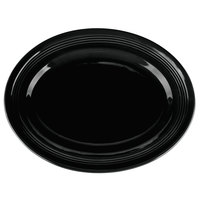 Tuxton CBH-136 Concentrix 13 3/4 inch x 10 1/2 inch Black Oval China Platter - 6/Case
