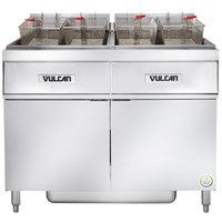 Vulcan 2ER50AF-2 100 lb. 2 Unit Electric Floor Fryer System with Analog Controls and KleenScreen Filtration - 480V, 3 Phase, 34 kW
