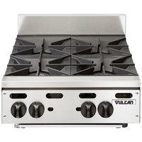 Vulcan VHP424 Liquid Propane 24 inch 4 Burner Countertop Range - 110,000 BTU