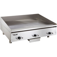 Vulcan HEG36E 36 inch Electric Countertop Griddle with Snap-Action Thermostatic Controls - 480V, 3 Phase, 16.2 kW
