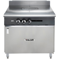 Vulcan V1FT36B-LP V Series Liquid Propane Heavy-Duty Range with 36 inch French Top and Cabinet Base - 45,000 BTU