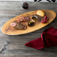 American Metalcraft OWM25 25 1/2 inch x 10 1/4 inch Oval Melamine Serving Board - Faux Olive Wood
