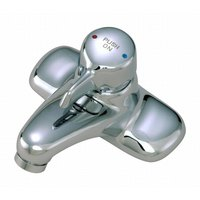T&S B-2760-H Deck Mount Metering Lavatory Faucet with Three Inlets on 4 inch Centers - 4 7/16 inch Spread