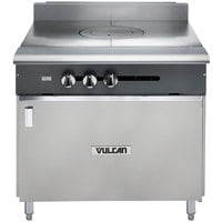 Vulcan V1FT36B-NAT V Series Natural Gas Heavy-Duty Range with 36 inch French Top and Cabinet Base - 45,000 BTU