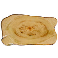 American Metalcraft MSR17 17 3/8 inch x 9 7/8 inch Organic Shape Melamine Serving Board - Faux Rustic Wood
