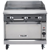 Vulcan VGM36B-NAT V Series Natural Gas 36 inch Heavy-Duty Manual Range with Griddle Top and Cabinet Base - 90,000 BTU