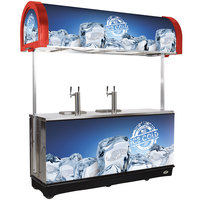 IRP RDC-4 Red Refrigerated Mobile Draft Cart with Illuminated Canopy - (4) 1/2 Keg