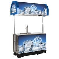 IRP RDC-2 Blue Refrigerated Mobile Draft Cart with Illuminated Canopy - (2) 1/2 Keg