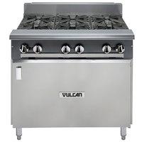 Vulcan V6B36B-NAT V Series Natural Gas 6 Burner 36 inch Heavy-Duty Range with Cabinet Base - 198,000 BTU
