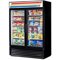 True GDM-49F-LD Black Glass Door Merchandiser Freezer with LED Lighting