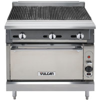 Vulcan VCBB36C-LP V Series Liquid Propane 36 inch Radiant Gas Floor Model Charbroiler with Convection Oven Base - 131,000 BTU