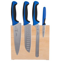 Mercer Culinary M21980BL Millennia 5-Piece Rubberwood Magnetic Board and Blue Handle Knife Set