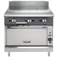 Vulcan V336HC-NAT V Series Natural Gas 3 Burner Heavy-Duty Range with 36 inch Hot Top and Convection Oven - 122,000 BTU