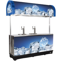 IRP RDC-4 Blue Refrigerated Mobile Draft Cart with Illuminated Canopy - (4) 1/2 Keg
