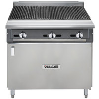 Vulcan VCBB36B-NAT V Series Natural Gas 36 inch Radiant Gas Floor Model Charbroiler with Cabinet Base - 99,000 BTU