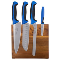 Mercer Culinary M21982BL Millennia 5-Piece Acacia Magnetic Board and Blue Handle Knife Set