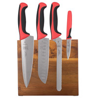 Mercer Culinary M21982RD Millennia 5-Piece Acacia Magnetic Board and Red Handle Knife Set