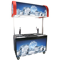 Red IRP-2060 IDC Ice Down Mobile Draft Cart with Illuminated Canopy - (2) 1/2 Keg