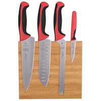 Mercer Culinary M21981RD Millennia 5-Piece Bamboo Magnetic Board and Red Handle Knife Set