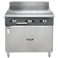Vulcan V336HB-NAT V Series Natural Gas 3 Burner Heavy-Duty Range with 36 inch Hot Top and Cabinet Base - 90,000 BTU