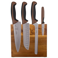 Mercer Culinary M21982BR Millennia 5-Piece Acacia Magnetic Board and Brown Handle Knife Set