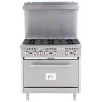 Cooking Performance Group S36-L Liquid Propane 6 Burner 36 inch Range with Standard Oven - 210,000 BTU