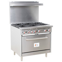Cooking Performance Group S36-L Liquid Propane 6 Burner 36 inch Range with Standard Oven - 210,000 BTU