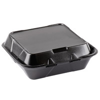 Genpak SN240-BK 8 inch x 8 inch x 3 inch Black Foam Hinged Lid Container - 100/Pack