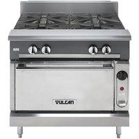 Vulcan V4B36C-LP V Series Liquid Propane 4 Burner 36 inch Heavy-Duty Range with Convection Oven - 164,000 BTU