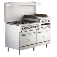 Cooking Performance Group S60-GS24-L Liquid Propane 6 Burner 60 inch Range with 24 inch Griddle/Broiler and 2 Standard Ovens - 276,000 BTU