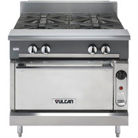 Vulcan V4B36C-NAT V Series Natural Gas 4 Burner 36 inch Heavy-Duty Range with Convection Oven - 164,000 BTU