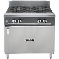 Vulcan V4B36B-NAT V Series Natural Gas 4 Burner 36 inch Heavy-Duty Range with Cabinet Base - 132,000 BTU