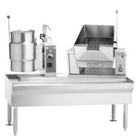 Vulcan VEKT64/6B12 64 inch Table with (1) 6 Gallon Electric Tilting Kettle and (1) 12 Gallon Braising Pan - 208V, 16.5 kW