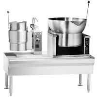 Vulcan VEKT64/6B16 64 inch Table with (1) 6 Gallon Electric Tilting Kettle and (1) 16 Gallon Braising Pan - 208V, 15 kW