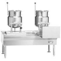 Vulcan VKT50/1212 50 inch Table with (2) 12 Gallon Direct Steam Tilting Kettles