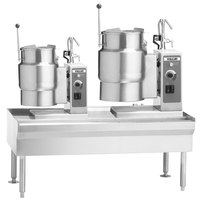 Vulcan VEKT64/612 64 inch Table with (1) 6 Gallon and (1) 12 Gallon Electric Tilting Kettle - 208V, 19.5 kW