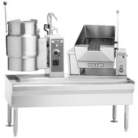 Vulcan VEKT64/12B12 64 inch Table with (1) 12 Gallon Electric Tilting Kettle and (1) 12 Gallon Braising Pan - 208V, 21 kW