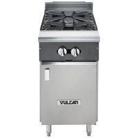 Vulcan V2B18B-LP V Series Liquid Propane 2 Burner 18 inch Heavy-Duty Range and Cabinet Base - 66,000 BTU