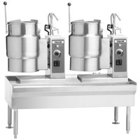Vulcan VEKT64/1212 64 inch Table with (2) 12 Gallon Electric Tilting Kettles - 208V, 24 kW